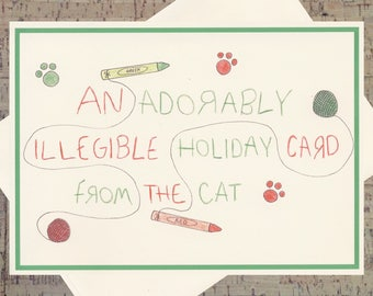 Cat Card, Funny Holiday Card, Cat Holiday Card, Funny Christmas Card, Happy Holidays Card, Cat Lover, Cute Holiday Card, Pet Holiday Card