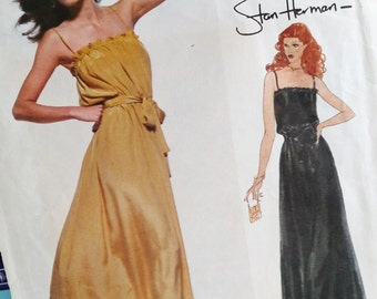 1979 Very Easy Vogue American Designer Original, Stan Herman # 2011-Evening DRESS-Very Loose-Fitting-Pullover-Ruffle-Sz 10-Bust 32.5-UNCUT