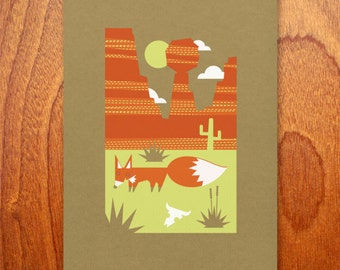 red fox bee land limited edition print