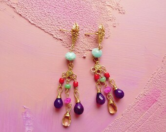 Sevilla citrine, amazonite, chrysoprase, red coral, chalcedony and vermeil chandelier earrings