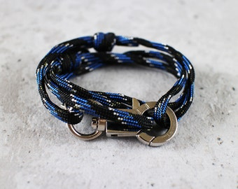 Cord Tiga - blue black brooke paracord cord wrap bracelet with silver metal clasp, unisex, adjustable size, limited edition