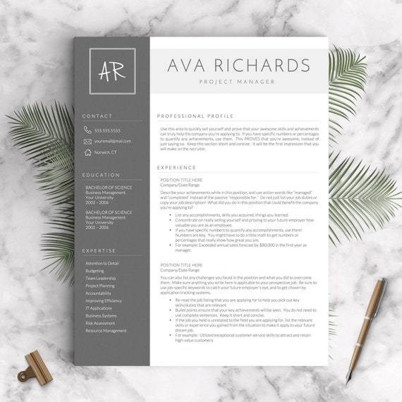 Modern Resume Template For Word 1 3 Page Resume Cover: Modern Resume Template For Word And Pages 1 3 Pages Cover
