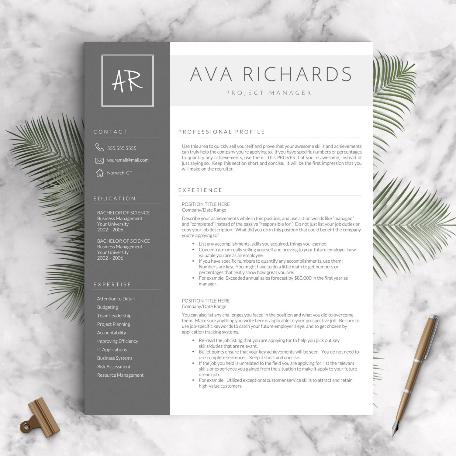 🔎zoom  Modern Resume Template Word
