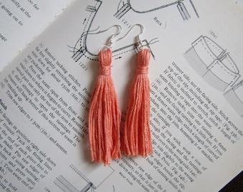 Coral Tassel Earrings