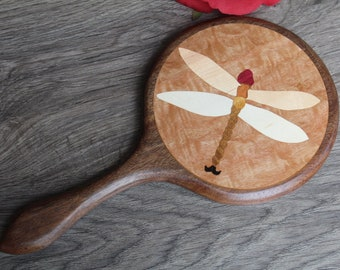 Mirror, Dragonfly Hand Mirror, Large Hand Mirror, Round Mirror, Wood Mirror, Wall Mirror, Handmade in USA