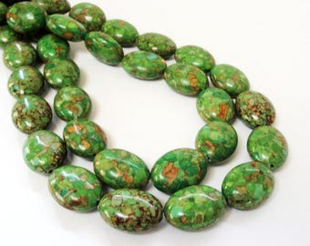 "Forest Green Oval Beads - Green Mosaic Howlite Beads - Large Smooth Center Drilled - Natural Stone - 16"" Strand - 19mm - DIY Jewelry Making"