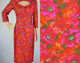 60s Hot Pink and Orange Floral Dress S/M, Hawaiian Tiki Print, Peek-a-Boo Neckline, Vintage GIGI YOUNG, Pinup Hourglass Hollywood Bombshell