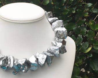 Silver Gemstone Necklace Chunky Silver Necklace Metallic Gemstone Necklace Large Silver Necklace Silver Statement Necklace Festive Necklace