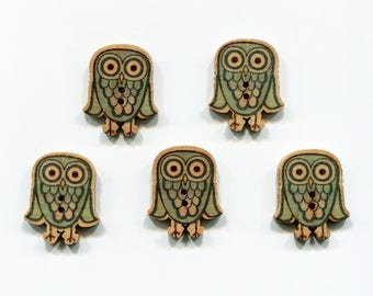 lot 5 buttons OWL / OWL wood