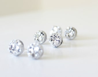 Silver earrings - silver bridesmaid earrings - white earrings - sparkly white studs - druzy studs - bridesmaid gift - bridesmaid earrings