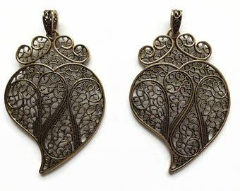Viana Heart Pendant, Filigree Heart Necklace, Filigree Heart Pendant, Antique Brass Filigree Pendant, 80 mm tall Heart Pendant, Filigrees