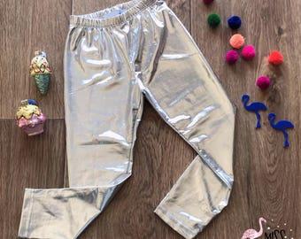 Metallic Silver Leggings, Silver Toddler Legging, Dance Leggings, Gymnastics Girl Leggings, Girls Metallic, Trendy Pant, Shiny Leggings,