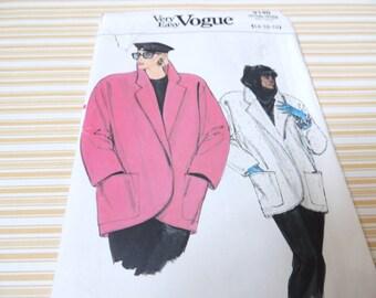Very Easy Vogue 9140 Coat Pattern 14,16,18 Uncut