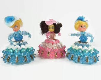 3 Vintage Southern Belle Dolls Beaded with Safety Pins