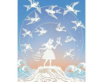 Dare to Fly - 5x7 Print - Original Papercut Illustration - Fine Art Print