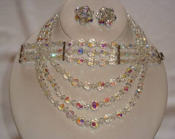 Sparkling Swarovski Aurora Borealis Full Parure - 3 Strand Necklace / Bracelet / Clip Earrings