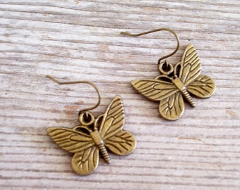 Antiqued Brass Butterfly Earrings, Bronze Nature Earrings, Butterfly Jewelry, Pierced Dangle Earrings