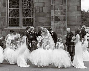 Long white tutu, white wedding princess tutu, girls tutu,  flower girl dress, bridesmaid dress, tutu skirt, tulle skirt, flower girl dress
