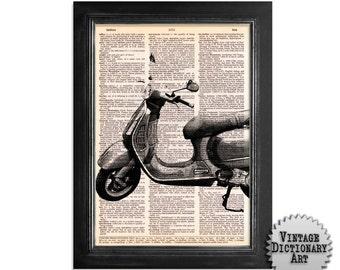 Vespa Scooter - Vintage Dictionary Paper Art Print - 8x10.5