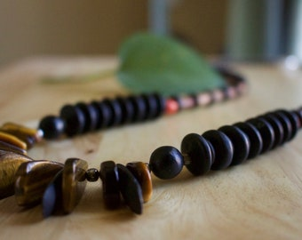 Long Tiger's Eye Stone Necklace, Must Have Handmade Beaded Jewelry, Unique Gift for Woman