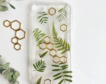 Hexagon Phone Case, Fern Phone Case, Iphone X case, Iphone 8 case, Samsung Galaxy S8 case, Huawei P10 case, Pressed flower case, Gold case