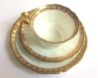 Vintage tea cup saucer set fine bone china white gold trim pink roses English traditional afternoon tea