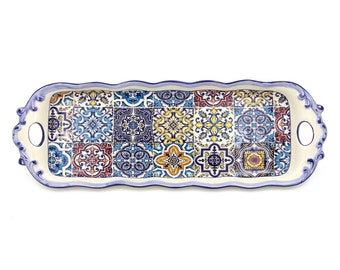 Hand-painted Portuguese Decorative Ceramic Large Serving Tart Tray