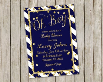 NAVY & GOLD BABY Shower Invitations Navy Blue Stripe Glitter Confetti Sparkles Boy Invite