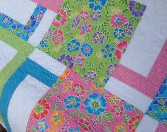 Colorful Flowers Lap Quilt