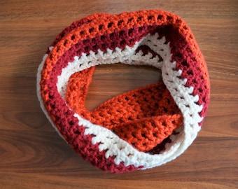 Sunset - Burnt orange, red and white infinity crochet scarf