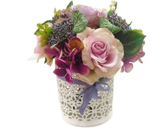 Rose & Hydraenga Posy, Silk Table Arrangement Free Delivery
