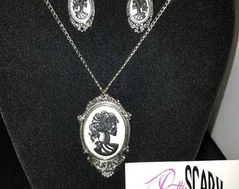 Skeleton cameo necklace or earrings