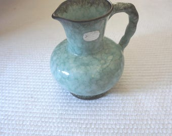 Great pottery pitcher vase by Carstens Tönnieshof West Germany 422. Turquoise glazing. Vintage mid Century, with silver Carstens sticker