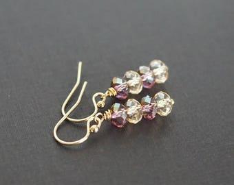 Swarovski crystal drop earrings, Swarovski jewelry gift, purple crystal earrings, bridal earrings, 14k gold fill shepherd hook ear wires
