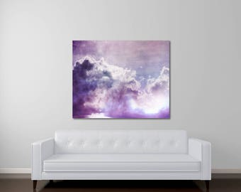Abstract Canvas Art, Purple Canvas Art, Fine Art Photography, Cloud Photography, Canvas Gallery Wrap, Violet, Ethereal Nature Art, Wonder