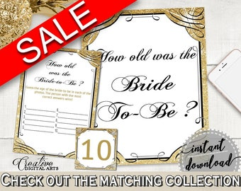 Gold And Yellow Glittering Gold Bridal Shower Theme: How Old Was The Bride To Be - how old was bride, gold shower, digital download - JTD7P