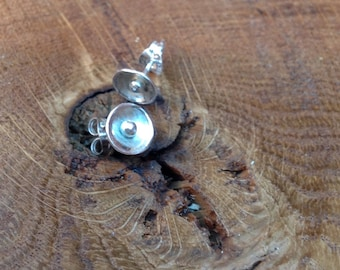 Little handmade sterling silver studs, disc with small central silver bead