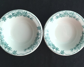 """Caribe Diner Hotel Restaurant China Green Leaves Set of 2 6-1/2"""" Narrow-Rim Cereal Bowls in Excellent Lightly-Used Condition"""