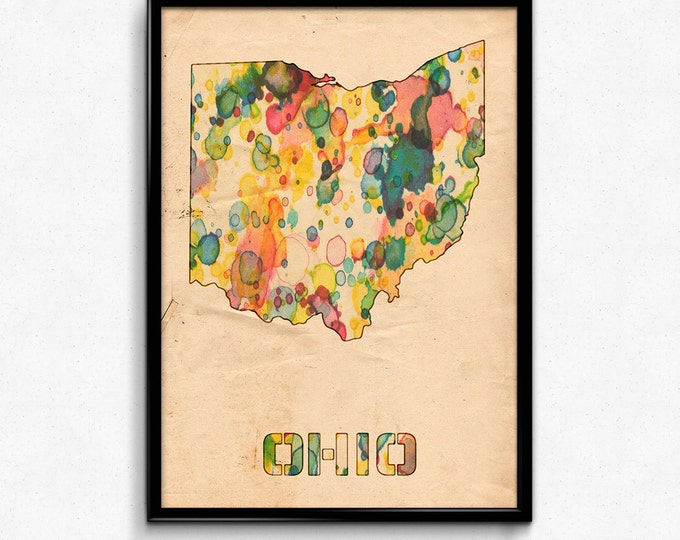 Ohio Map Poster Watercolor Print - Fine Art Digital Painting, Multiple Sizes - 12x18 to 24x36 - Vintage Paper Colors Style
