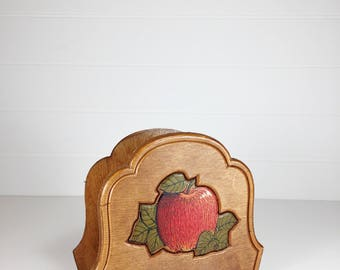 Wood apple napkin holder | mail holder