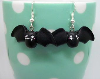 Cute black bat polymer clay earrings
