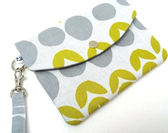 iPhone Wristlet Passport Wallet - Flowers and Dots in Yellow and Gray
