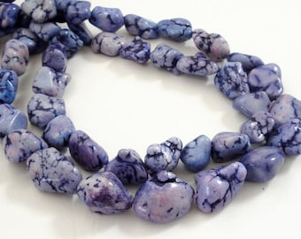 "Purple Nugget Beads - Purple Lavender Chunky Beads - Gemstone Howlite Drilled Pebbles - 16"" Strand - DIY Women One Strand Necklace"