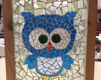 Contemporary Stained Glass Mosaic Panel - Blue Owl (PLG116)
