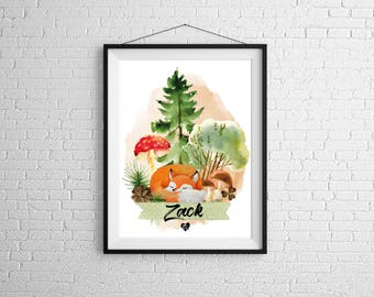 Customizable poster Fox forest