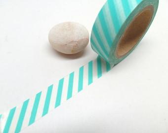 Aqua Blue Washi Tape - Blue Stripes Washi Tape - Aqua Washi Tape