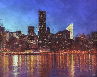 New York City Skyline NYC Painting Poster Print