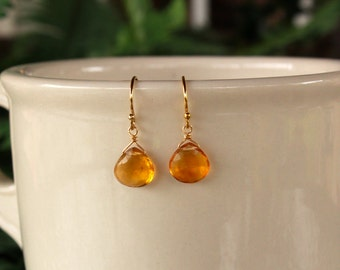Citrine Earrings, Gold or Silver, November Birthstone, Minimalist, Simple, Yellow Gemstone, Citrine Jewelry, Vibrant Yellow Citrine