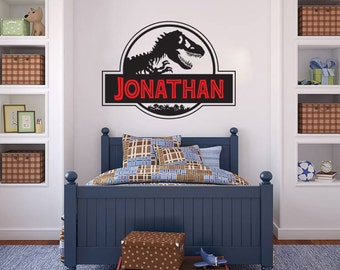 Dinosaur Name Wall Decal Nursery Baby Kids Children Jurassic Park wall decal available in 5 different sizes and 30 different colors
