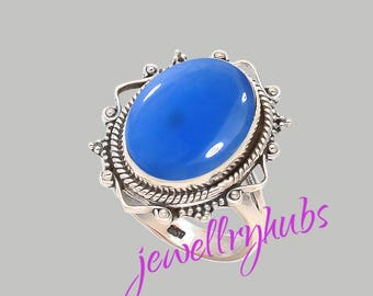 Blue Chalcedony Ring, Pure 925 Sterling Silver Ring, Statement Ring, Solitaire Ring, Boho Ring, Blue Cabochon Ring, Chalcedony Rings, R25CH